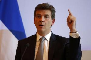 French Economy Minister Montebourg attends a news conference at the Bercy Ministry in Paris