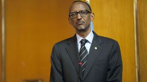 "(FILES) -- A file photo taken on April 16, 2015 shows Rwandan President Paul Kagame attending a press conference with Ethiopia's Prime Minister at the National Palace in Addis Ababa, Ethiopia. Rwandan lawmakers were set to debate on July 14, 2015 possible changes to the constitution to allow strongman Paul Kagame a third term in power as president. Over 3.7 million people -- well over half of the voters -- have signed a petition calling for a change of Article 101 of the constitution, which limits the president to two terms, according to Rwandan media. The public have been invited to attend the debate to ""examine the relevance of the people's petitions submitted to the parliament, asking for the amendment of the Article 101 of the constitution on presidential terms,"" a parliamentary statement read, according to the New Times newspaper on July 14.  AFP PHOTO / ZACHARIAS ABUBEKER"